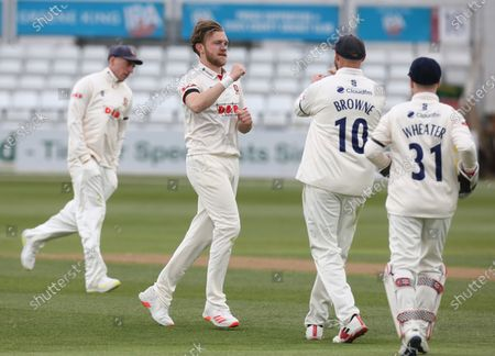 Essex's Simon Cook celebrates LBW on Worcestershire's Brett D'Oliveira during   LV Insurance County Championship Group 1 Day 3 of Four between Essex CCC and Worcestershire CCC at The Cloudfm County Ground on 10th April , 2021 in Chelmsford, England