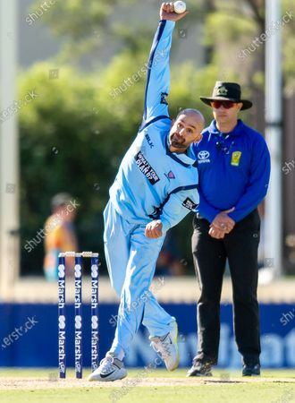 Stock Photo of Nathan Lyon of NSW bowls during the 2021 Marsh One Day Cup Final match between New South Wales and Western Australia at Bankstown Oval.