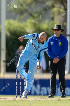 Nathan Lyon of NSW bowls during the 2021 Marsh One Day Cup Final match between New South Wales and Western Australia at Bankstown Oval.