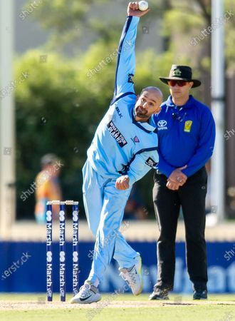 Stock Image of Nathan Lyon of NSW bowls during the 2021 Marsh One Day Cup Final match between New South Wales and Western Australia at Bankstown Oval on April 11, 2021 in Sydney, Australia.