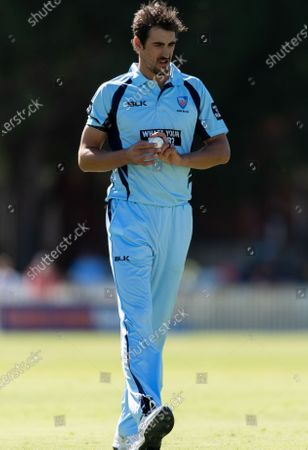 Mitchell Starc of NSW looks on during the 2021 Marsh One Day Cup Final match between New South Wales and Western Australia at Bankstown Oval on April 11, 2021 in Sydney, Australia.