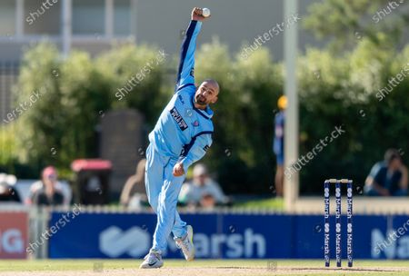 Nathan Lyon of NSW bowls during the 2021 Marsh One Day Cup Final match between New South Wales and Western Australia at Bankstown Oval on April 11, 2021 in Sydney, Australia.