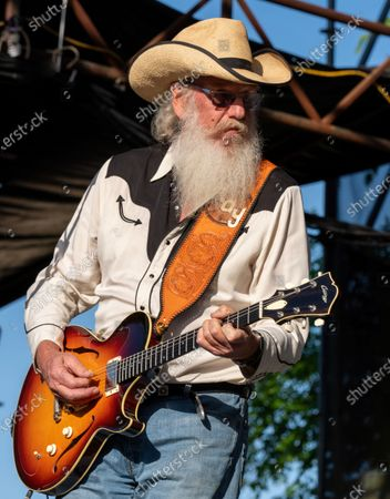 Stock Photo of Ray Benson of Asleep at the Wheel performs at the Nutty Brown Amphitheater on April 10, 2021 in Austin, Texas.