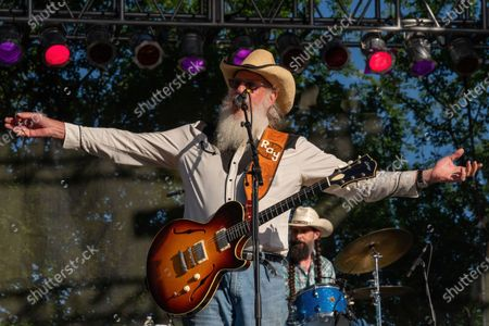 Stock Image of Ray Benson of Asleep at the Wheel performs at the Nutty Brown Amphitheater on April 10, 2021 in Austin, Texas.