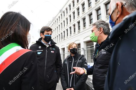 Mayor of Rome Virginia Raggi, Toto Wolff, Team Principal and CEO, Mercedes AMG, Susie Wolff, Team Principal, Venturi, and Alejandro Agag, Chairman of Formula E during the 2021 Formula E Round 4 - Rome E-Prix