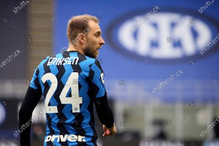 Christian Eriksen of FC Internazionale looks on during the Serie A match between FC Internazionale  and Cagliari Calcio at Stadio Giuseppe Meazza on April 11, 2021 in Milan, Italy. Sporting stadiums around Italy remain under strict restrictions due to the Coronavirus Pandemic as Government social distancing laws prohibit fans inside venues resulting in games being played behind closed doors.
