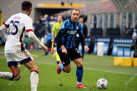 Christian Eriksen of FC Internazionale in action during the Serie A match between FC Internazionale  and Cagliari Calcio at Stadio Giuseppe Meazza on April 11, 2021 in Milan, Italy. Sporting stadiums around Italy remain under strict restrictions due to the Coronavirus Pandemic as Government social distancing laws prohibit fans inside venues resulting in games being played behind closed doors.