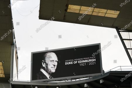 A minute of silence is observed to honor the memory of Prince Philip, Duke of Edinburgh and husband of Queen Elizabeth II before the English Premier League soccer match between Burnley and Newcastle United in Burnley, Britain, 11 April 2021. Prince Philip died aged 99 on 09 April 2021.