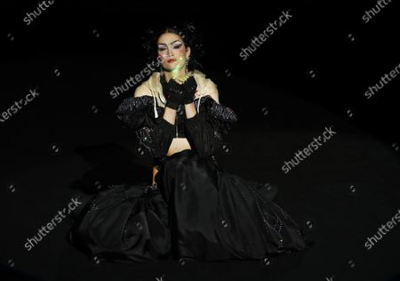 A model presents a creation from the Fall-Winter 2021/2022 collection of Guillermo Decimo as part of the young talents of Ego show during a show at the 73rd Mercedes-Benz Fashion Week Madrid, in Madrid, Spain, 11 April 2021. The fashion event runs from 08 to 11 April.