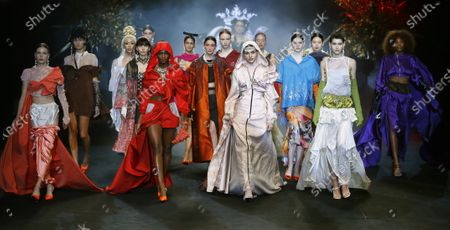 Models present creations from the Fall-Winter 2021/2022 collection of Guillermo Decimo as part of the young talents of Ego show during a show at the 73rd Mercedes-Benz Fashion Week Madrid, in Madrid, Spain, 11 April 2021. The fashion event runs from 08 to 11 April.