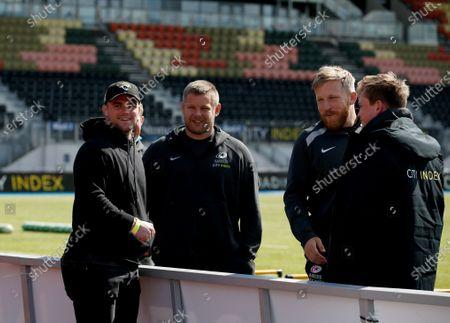 Ben Earl with Saracens teammates Richard Barrington, Jackson Wray and Nick Tompkins