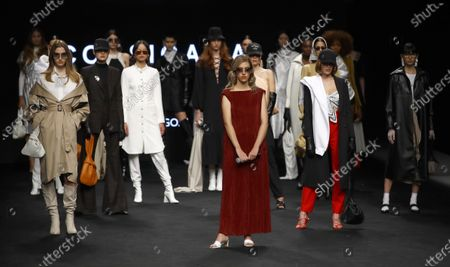 Models present creations from the Fall-Winter 2021/2022 collection of Corsicana fashion brand as part of the young talents of Ego show during a show at the 73rd Mercedes-Benz Fashion Week Madrid, in Madrid, Spain, 11 April 2021. The fashion event runs from 08 to 11 April.