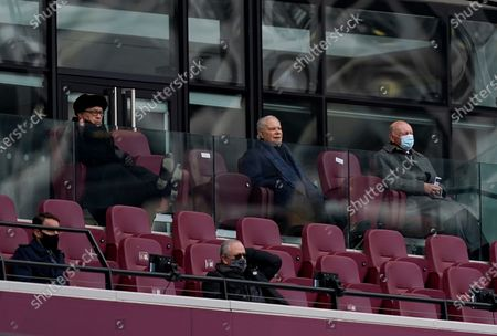 Stock Photo of West Ham United co-owner David Gold (C) in the stands during the English Premier League match between West Ham United and Leicester City in London, Britain, 11 April 2021.