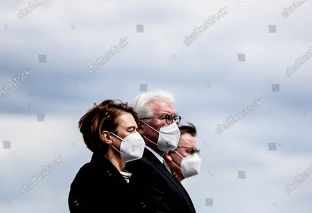 Prime Minister of Thuringia, Bodo Ramelow (R) German President Frank-Walter Steinmeier (C) and his wife Elke Buedenbender (L) attend commemorative event marking the 76th anniversary of the liberation of Buchenwald and Mittelbau-Dora concentration camps, on its former roll call ground in Weimar, Germany, 11 April 2021. Buchenwald, liberated by US troops on 11 April 1945, was the biggest concentration camp on German soil. More than 250,000 people were imprisoned there over a period of eight years. Some 56,000 are believed to have died there, either murdered or having succumbed to disease and starvation.