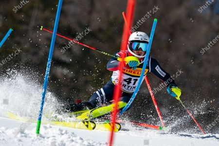 TAYLOR Laurie (GBR) competing in the TELEPASS FIS ALPINE WORLD SKI CHAMPIONSHIPS 2021 Men's Slalom on the Druscié Course in the dolomite mountain range