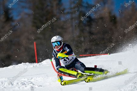 Stock Picture of  TAYLOR Laurie (GBR) competing in the TELEPASS FIS ALPINE WORLD SKI CHAMPIONSHIPS 2021 Men's Slalom on the Druscié Course in the dolomite mountain range