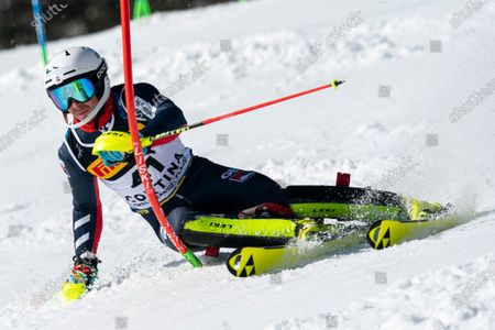 Stock Image of  TAYLOR Laurie (GBR) competing in the TELEPASS FIS ALPINE WORLD SKI CHAMPIONSHIPS 2021 Men's Slalom on the Druscié Course in the dolomite mountain range