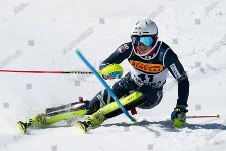 Stock Photo of  TAYLOR Laurie (GBR) competing in the TELEPASS FIS ALPINE WORLD SKI CHAMPIONSHIPS 2021 Men's Slalom on the Druscié Course in the dolomite mountain range