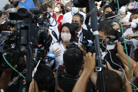 Stock Picture of Keiko Fujimori, daughter of imprisoned ex-President Alberto Fujimori and presidential candidate for the Popular Force party, talks to journalists after voting during general elections in Lima, Peru, . Peruvians went to the polsl amid a surge in new COVID-19 infections