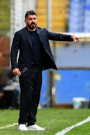 Napoli's coach Gennaro Gattuso during the Italian Serie A soccer match UC Sampdoria vs SSC Napoli at Luigi Ferraris stadium in Genoa, Italy, 11 April 2021.