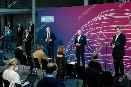 Editorial photo of Press conference during CDU/CSU closed door meeting in Berlin, Germany - 11 Apr 2021