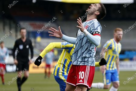 Dusan Tadic of Ajax reacts during the Dutch Eredivisie match between RKC Waalwijk and Ajax at the Mandemakers Stadium in Waalwijk, The Netherlands, 11 April 2021.