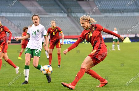 Stock Image of Irish Heather Payne and Belgium's Justine Vanhaevermaet pictured in action during a friendly women's soccer game between Belgium's national team the Red Flames and the Republic of Ireland, Sunday 11 April 2021 in Brussels.