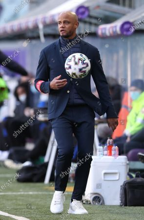 Anderlecht's head coach Vincent Kompany gestures during a soccer match between RSC Anderlecht and Club Brugge KV, Sunday 11 April 2021 in Brussels, on day 33 of the 'Jupiler Pro League' first division of the Belgian championship.