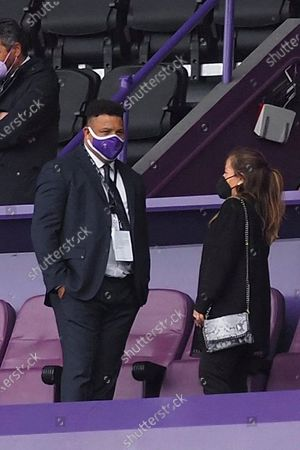 Real Valladolid's President Ronaldo Nazario (L) reacts ahead of the Spanish LaLiga soccer match between Real Valladolid and Granada at Jose Zorilla stadium in Valladolid, Spain, 11 April 2021.