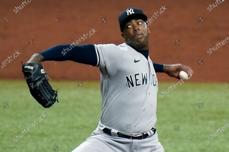 New York Yankees' Aroldis Chapman pitches to the Tampa Bay Rays during the ninth inning of a baseball game, in St. Petersburg, Fla