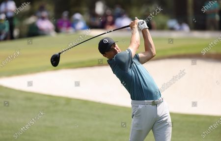 Jordan Spieth of the US hits his tee shot on the third hole during the final round of the 2021 Masters Tournament at the Augusta National Golf Club in Augusta, Georgia, USA, 11 April 2021. The 2021 Masters Tournament is held 08 April through 11 April 2021.