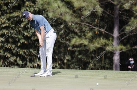 Stock Picture of Jordan Spieth of the US putts on the fourth hole during the final round of the 2021 Masters Tournament at the Augusta National Golf Club in Augusta, Georgia, USA, 11 April 2021. The 2021 Masters Tournament is held 08 April through 11 April 2021.
