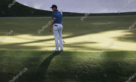 Jordan Spieth of the US on the thirteenth hole during the final round of the 2021 Masters Tournament at the Augusta National Golf Club in Augusta, Georgia, USA, 11 April 2021. The 2021 Masters Tournament is held 08 April through 11 April 2021.