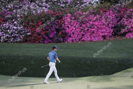 Jordan Spieth of the US walks up to the green on the thirteenth hole during the final round of the 2021 Masters Tournament at the Augusta National Golf Club in Augusta, Georgia, USA, 11 April 2021. The 2021 Masters Tournament is held 08 April through 11 April 2021.