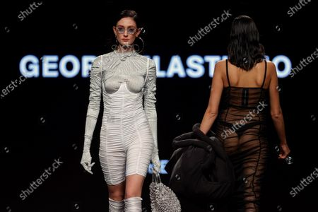 Models present creations from the Fall-Winter 2021/2022 collection of the Georgiela Studio fashion brand during a young talents 'EGO' fashion show on the last day of the 73rd Mercedes-Benz Fashion Week Madrid, in Madrid, Spain, 11 April 2021. The fashion event runs from 08 to 11 April.