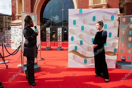 London, Sunday 11th April 2021: Official EE host Clara Amfo and Sophie Cookson at the 2021 EE British Academy Film Awards. Interviews will be available exclusively at twitter.com/ee