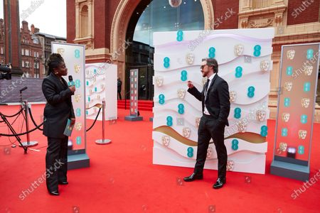 London, Sunday 11th April 2021: Official EE host Clara Amfo and James McAvoy at the 2021 EE British Academy Film Awards. Interviews will be available exclusively at twitter.com/ee