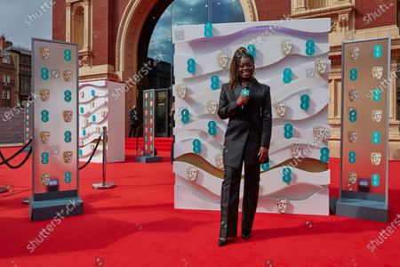London, Sunday 11th April 2021: Official EE host Clara Amfo at the 2021 EE British Academy Film Awards. Interviews will be available exclusively at twitter.com/ee