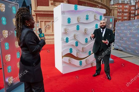 London, Sunday 11th April 2021: Official EE host Clara Amfo and Asim Chaudhry at the 2021 EE British Academy Film Awards. Interviews will be available exclusively at twitter.com/ee