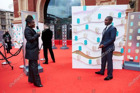 London, Sunday 11th April 2021: Official EE host Clara Amfo and David Oyelowo at the 2021 EE British Academy Film Awards. Interviews will be available exclusively at twitter.com/ee