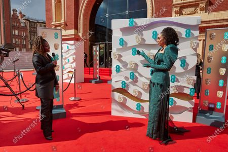 London, Sunday 11th April 2021: Official EE host Clara Amfo and Celeste at the 2021 EE British Academy Film Awards. Interviews will be available exclusively at twitter.com/ee