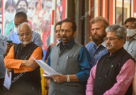 BJP leader and Union Minister Mukhtar Abbas Naqvi, BJP National General Secretary & MP Dushyant Gautam, Sunita Duggal, Bhola Singh and Hans Raj Hans after a meeting with the Election Commission, on the issue of West Bengal Legislative Assembly election 2021 at ECI HQ, on April 11, 2021 in New Delhi, India. BJP on Sunday urged the Election Commission of India (ECI) to take necessary action against Trinamool Congress (TMC) leader Sujata Mondal Khan for making derogatory comments against Scheduled Castes (SC) community.