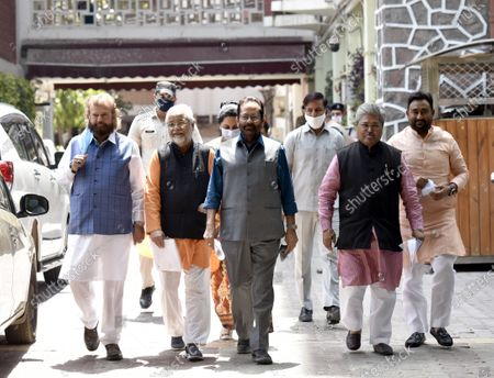 BJP leaders and Union Minister Mukhtar Abbas Naqvi, BJP National General Secretary & MP Dushyant Gautam,Sunita Duggal, Bhola Singh and Hans Raj Hans leave after a meeting with the Election Commission, on the issue of West Bengal Legislative Assembly election 2021 at ECI HQ, on April 11, 2021 in New Delhi, India. BJP on Sunday urged the Election Commission of India (ECI) to take necessary action against Trinamool Congress (TMC) leader Sujata Mondal Khan for making derogatory comments against Scheduled Castes (SC) community.