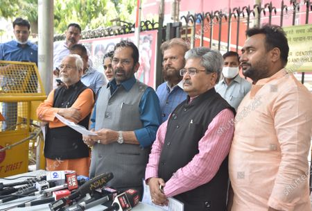 BJP leaders and Union Minister Mukhtar Abbas Naqvi, BJP National General Secretary & MP Dushyant Gautam,Sunita Duggal, Bhola Singh and Hans Raj Hans address media person  after a meeting with the Election Commission, on the issue of West Bengal Legislative Assembly election 2021 at ECI HQ, on April 11, 2021 in New Delhi, India. BJP on Sunday urged the Election Commission of India (ECI) to take necessary action against Trinamool Congress (TMC) leader Sujata Mondal Khan for making derogatory comments against Scheduled Castes (SC) community.