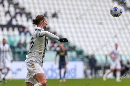 Adrien Rabiot of Juventus FC during the Serie A football match between Juventus FC and Genoa CFC at Allianz Stadium on April 11, 2021 in Turin, Italy.Juventus won 3-1 over Genoa.