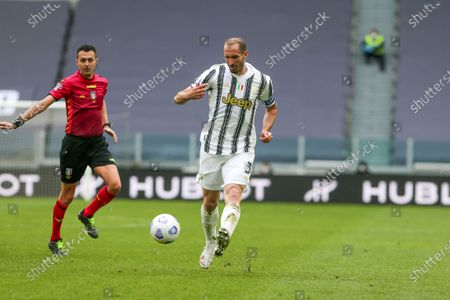 Giorgio Chiellini of Juventus FC during the Serie A football match between Juventus FC and Genoa CFC at Allianz Stadium on April 11, 2021 in Turin, Italy.Juventus won 3-1 over Genoa.