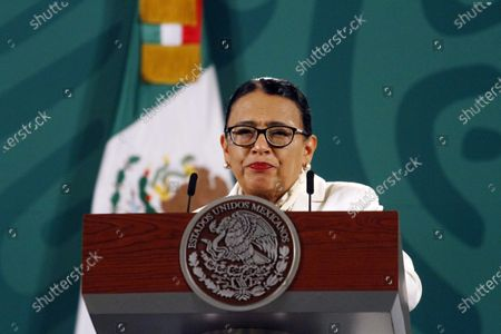 Stock Photo of The Secretary of Security and Citizen Protection of Mexico, Rosa Icela Rodriguez  speaks during a Daily Morning press conference at National Palace. On April 9, 2021 in Mexico City, Mexico.