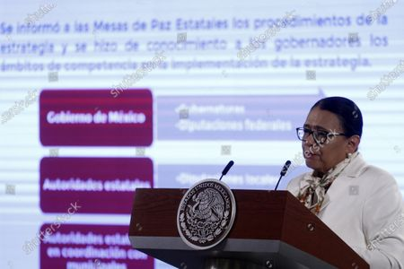 Stock Picture of The Secretary of Security and Citizen Protection of Mexico, Rosa Icela Rodriguez  speaks during a Daily Morning press conference at National Palace. On April 9, 2021 in Mexico City, Mexico.