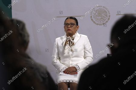 The Secretary of Security and Citizen Protection of Mexico, Rosa Icela Rodriguez  speaks during a Daily Morning press conference at National Palace. On April 9, 2021 in Mexico City, Mexico.