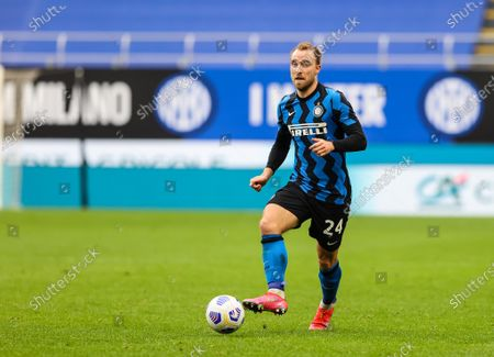Christian Eriksen of FC Internazionale in action during the 2020/21 Italian Serie A football match between FC Internazionale and Cagliari Calcio at the Giuseppe Meazza Stadium. Final score; Inter 1:0 Cagliari.